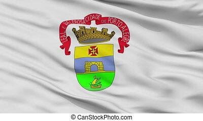 Closeup Porto Alegre city flag, Brasil - Porto Alegre...