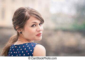 closeup, porträt, von, a, schöne , junge frau