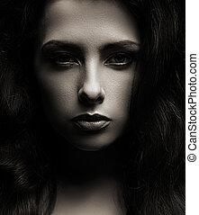 closeup, porträt, von, schöne frau, gesicht, dunkel,...