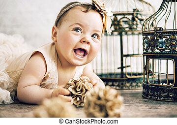 closeup, portræt, i, den, cute, barn