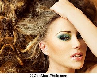 closeup, portræt, lady., brunette