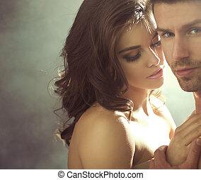 closeup, portré, közül, a, érzéki, szerelmes pár