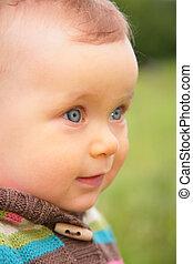 closeup, portré, közül, csecsemő