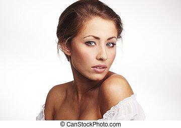 closeup, portré, közül, egy, bájos, kisasszony, bágyasztó