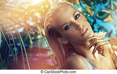 closeup, portré, közül, egy, bájos, szőke