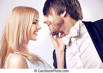 closeup, portré, közül, egy, csókolózás, párosít