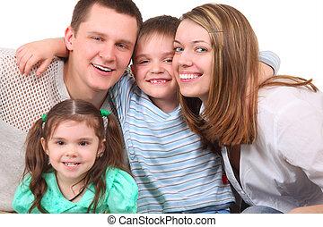closeup, portré, közül, vidám család