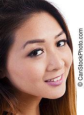 Closeup Portrait Attractive Asian American Woman Smiling