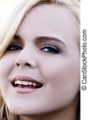 Closeup Portrait Attractive Blond Woman With Open Mouth