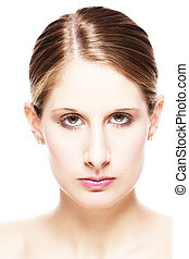 closeup portrait of a beautiful woman on white background