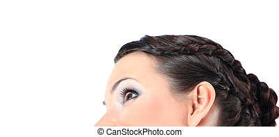 Closeup portrait of a beautiful woman. white background.
