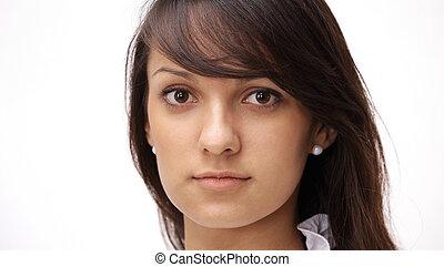 closeup. portrait of a confident young woman.