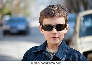 Closeup portrait of a cool kid
