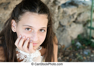 closeup portrait of a girl with long hair