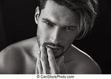Closeup portrait of a handsome model