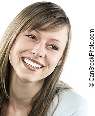 Closeup portrait of a happy young woman smiling isolated on white background