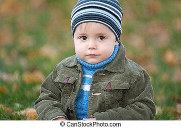 Closeup portrait of a little boy in the autumn park