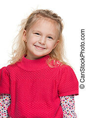 Closeup portrait of a little girl in red