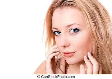 Closeup portrait of a lovely young blonde