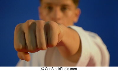 Closeup portrait of a martial arts karate fighter punching...