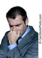 Closeup portrait of a pensive worried businessman
