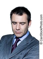 Closeup portrait of a pensive worried businessman - Closeup...