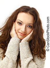 Closeup portrait of a pretty brunette isolated over white background