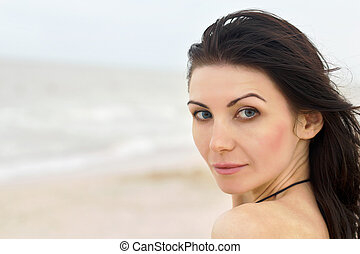 pretty young woman on the beach