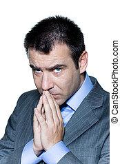Closeup portrait of a serious pensive businessman