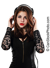 woman posing in headphones