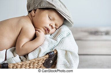 Closeup portrait of a sleeping baby