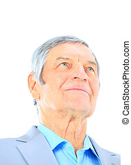Closeup portrait of a smart senior man smiling on white background