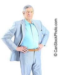 Closeup portrait of a smart senior man smiling on white background