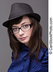 Closeup portrait of a woman wearing glasses