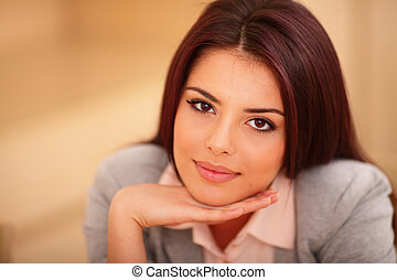 Closeup portrait of a Young beautiful confident woman