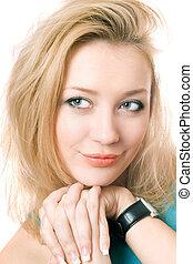 Closeup portrait of a young blonde