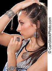 Closeup portrait of a young brunette