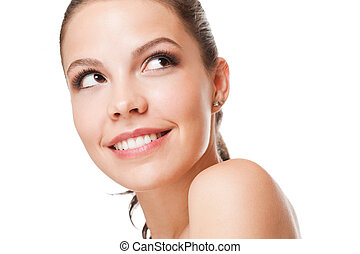 Closeup portrait of a young brunette beauty with healthy...