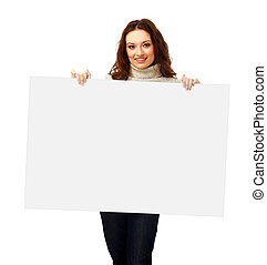 Closeup portrait of a young business woman with billboard isolated on white background