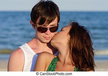Closeup portrait of a young couple