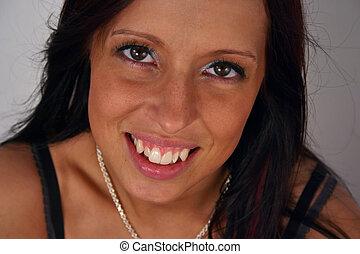 closeup portrait of a young woman