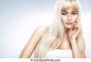 Closeup portrait of an adorable blond woman