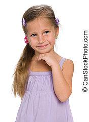 Closeup portrait of an adorable little girl