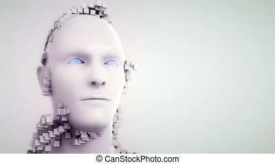 Closeup portrait of an Artificial Intelligence. 4K UHD.