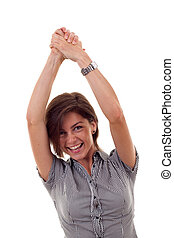 business woman rejoicing success - Closeup portrait of an...