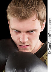 Closeup portrait of angry man