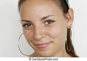 closeup portrait of attractive young woman