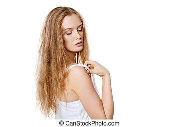 Closeup portrait of beautiful blond woman