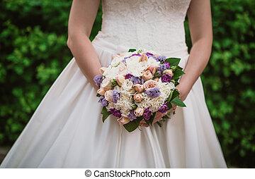 closeup portrait of beautiful bride - soft focus