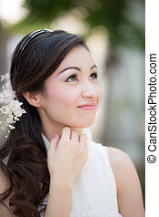 Closeup portrait of beautiful bride